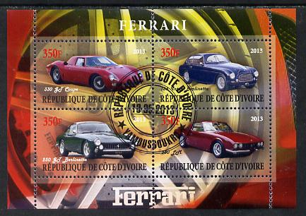 Ivory Coast 2013 Ferrari Cars #2 perf sheetlet containing 4 values fine cto used