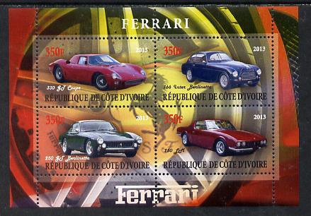 Ivory Coast 2013 Ferrari Cars #2 perf sheetlet containing 4 values unmounted mint
