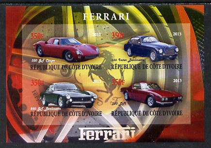 Ivory Coast 2013 Ferrari Cars #2 imperf sheetlet containing 4 values unmounted mint