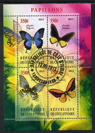 Ivory Coast 2013 Butterflies #2 perf sheetlet containing 4 values fine cto used