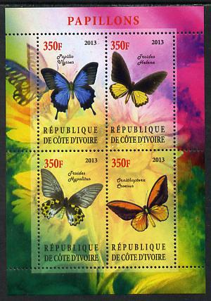 Ivory Coast 2013 Butterflies #2 perf sheetlet containing 4 values unmounted mint