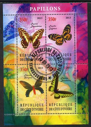Ivory Coast 2013 Butterflies #3 perf sheetlet containing 4 values fine cto used