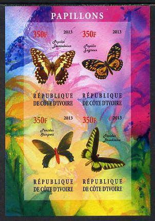 Ivory Coast 2013 Butterflies #3 imperf sheetlet containing 4 values unmounted mint