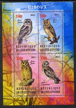 Ivory Coast 2013 Owls perf sheetlet containing 4 values unmounted mint