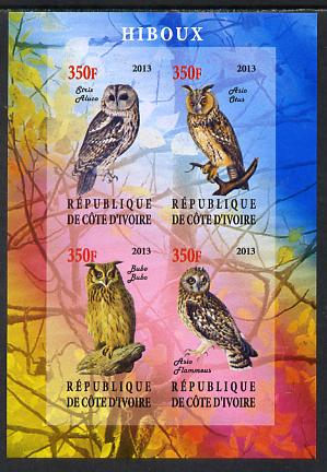 Ivory Coast 2013 Owls imperf sheetlet containing 4 values unmounted mint