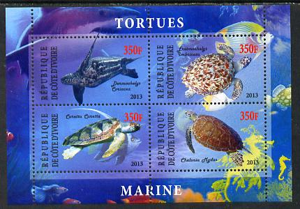 Ivory Coast 2013 Turtles perf sheetlet containing 4 values unmounted mint