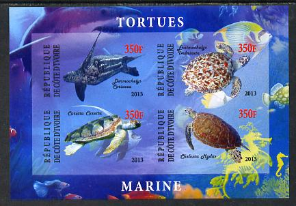 Ivory Coast 2013 Turtles imperf sheetlet containing 4 values unmounted mint