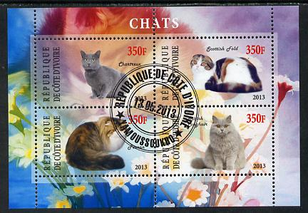 Ivory Coast 2013 Domestic Cats #2 perf sheetlet containing 4 values fine cto used