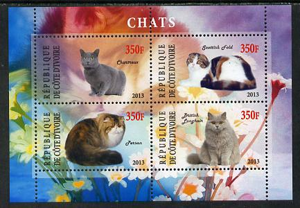 Ivory Coast 2013 Domestic Cats #2 perf sheetlet containing 4 values unmounted mint