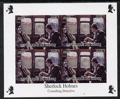 Congo 2013 Sherlock Holmes #1b imperf sheetlet containing 4 vals (top right design from sheet #1) unmounted mint. Note this item is privately produced and is offered purely on its thematic appeal, it has no postal validity, stamps on crime, stamps on films, stamps on  tv , stamps on films, stamps on cinema, stamps on movies, stamps on literature, stamps on smoking, stamps on tobacco, stamps on railways