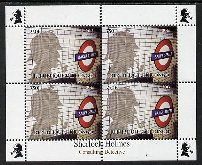 Congo 2013 Sherlock Holmes #1c perf sheetlet containing 4 vals (lower left design from sheet #1) unmounted mint. Note this item is privately produced and is offered purely on its thematic appeal