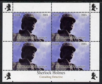 Congo 2013 Sherlock Holmes #2a perf sheetlet containing 4 vals (top left design from sheet #2) unmounted mint. Note this item is privately produced and is offered purely on its thematic appeal