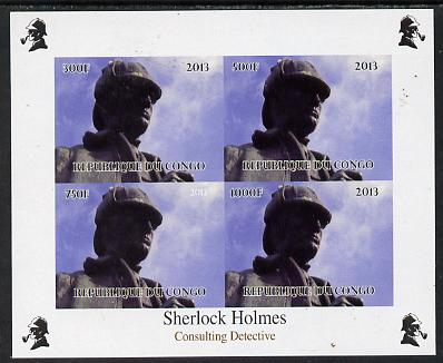Congo 2013 Sherlock Holmes #2a imperf sheetlet containing 4 vals (top left design from sheet #2) unmounted mint. Note this item is privately produced and is offered purely on its thematic appeal, it has no postal validity