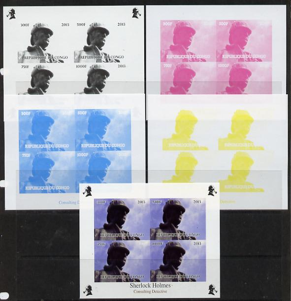 Congo 2013 Sherlock Holmes #2a sheetlet containing 4 vals (top left design from sheet #2) - the set of 5 imperf progressive colour proofs comprising the 4 basic colours plus all 4-colour composite unmounted mint
