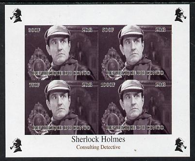 Congo 2013 Sherlock Holmes #2b imperf sheetlet containing 4 vals (top right design from sheet #2) unmounted mint. Note this item is privately produced and is offered purely on its thematic appeal, it has no postal validity, stamps on crime, stamps on films, stamps on  tv , stamps on films, stamps on cinema, stamps on movies, stamps on literature, stamps on smoking, stamps on tobacco