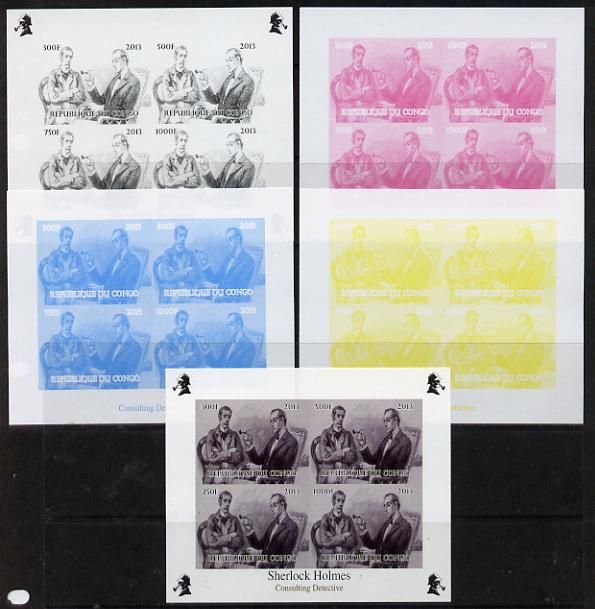 Congo 2013 Sherlock Holmes #2c sheetlet containing 4 vals (lower left design from sheet #2) - the set of 5 imperf progressive colour proofs comprising the 4 basic colours plus all 4-colour composite unmounted mint