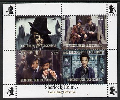 Congo 2013 Sherlock Holmes #3 perf sheetlet containing 4 vals unmounted mint. Note this item is privately produced and is offered purely on its thematic appeal