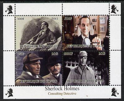 Congo 2013 Sherlock Holmes #4 perf sheetlet containing 4 vals unmounted mint. Note this item is privately produced and is offered purely on its thematic appeal
