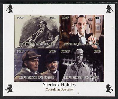 Congo 2013 Sherlock Holmes #4 imperf sheetlet containing 4 vals unmounted mint Note this item is privately produced and is offered purely on its thematic appeal, it has no postal validity