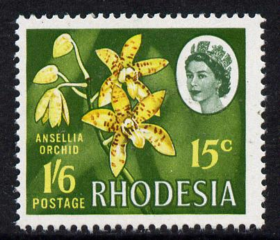Rhodesia 1967-68 Dual Currency 1s6d/15c Ansellia Orchid unmounted mint, SG 410