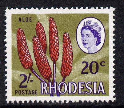 Rhodesia 1967-68 Dual Currency 2s/20c Aloe unmounted mint, SG 411