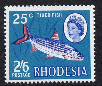 Rhodesia 1967-68 Dual Currency 2s5d/25c Tiger Fish unmounted mint, SG 412