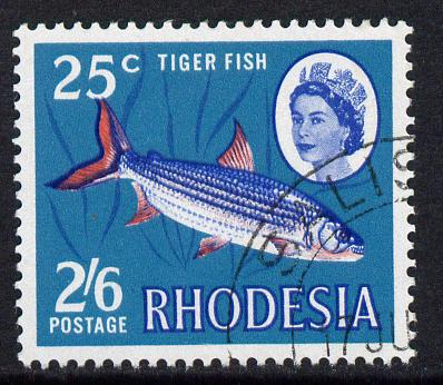 Rhodesia 1967-68 Dual Currency 2s5d/25c Tiger Fish fine cds used SG 412