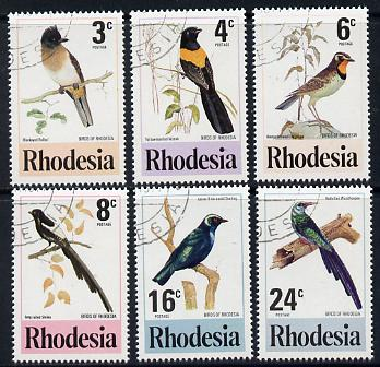 Rhodesia 1977 Birds 2nd series perf set of 6 cds used SG 537-42