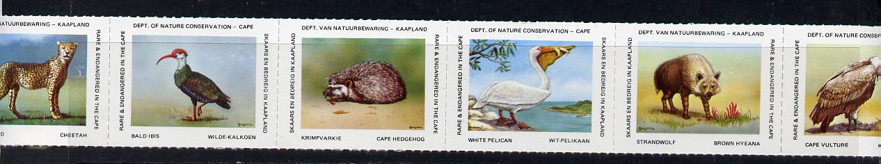 Cinderella - South Africa Rare & Endangered Species #1 horizontal strip of 6 undenominated values unmounted mint, issued by Dept of Nature Conservation, Cape Town