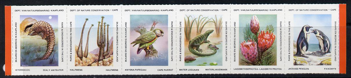 Cinderella - South Africa Rare & Endangered Species #2 horizontal strip of 6 undenominated values unmounted mint, issued by Dept of Nature Conservation, Cape Town