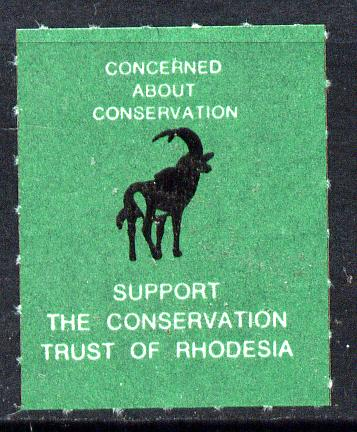Cinderella - Rhodesia Springbok Undenominated label unmounted mint inscribed