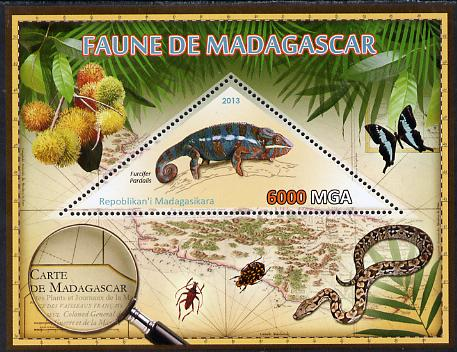 Madagascar 2013 Fauna - Panther Chameleon perf sheetlet containing one triangular value unmounted mint