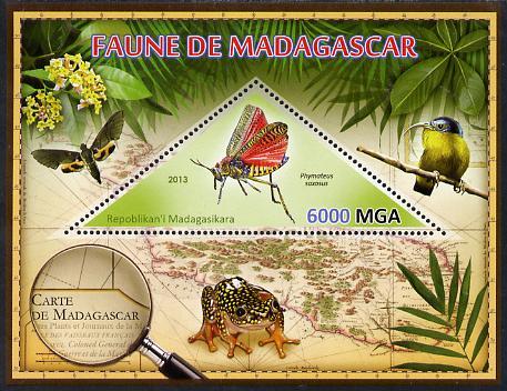 Madagascar 2013 Fauna - Phymateus Grasshopper perf sheetlet containing one triangular value unmounted mint