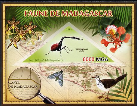 Madagascar 2013 Fauna - Giraffe Weevil imperf sheetlet containing one triangular value unmounted mint