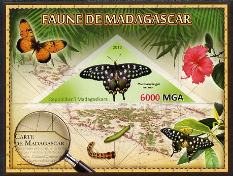 Madagascar 2013 Fauna - Giant Swallowtail Butterfly imperf sheetlet containing one triangular value unmounted mint