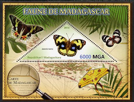 Madagascar 2013 Fauna - Yellow Pansy Butterfly perf sheetlet containing one triangular value unmounted mint