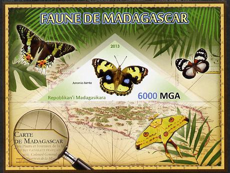 Madagascar 2013 Fauna - Yellow Pansy Butterfly imperf sheetlet containing one triangular value unmounted mint