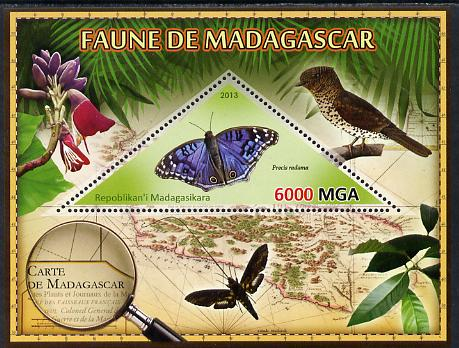 Madagascar 2013 Fauna - Blue African Butterfly perf sheetlet containing one triangular value unmounted mint