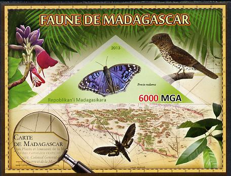 Madagascar 2013 Fauna - Blue African Butterfly imperf sheetlet containing one triangular value unmounted mint
