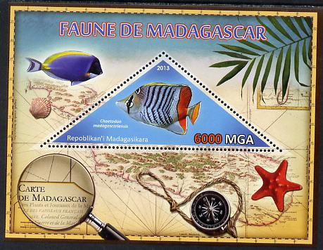 Madagascar 2013 Fauna - Butterflyfish perf sheetlet containing one triangular value unmounted mint