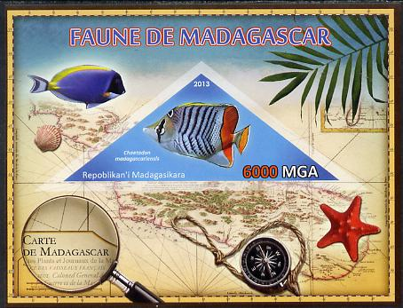 Madagascar 2013 Fauna - Butterflyfish imperf sheetlet containing one triangular value unmounted mint