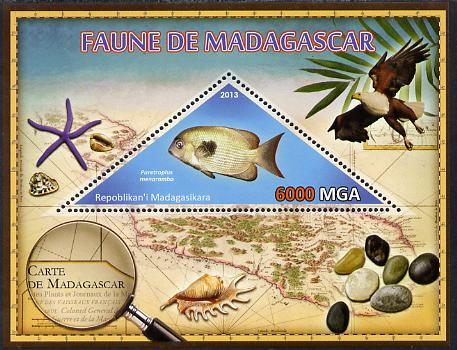 Madagascar 2013 Fauna - Pinstripe Damba Fish perf sheetlet containing one triangular value unmounted mint