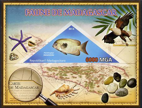 Madagascar 2013 Fauna - Pinstripe Damba Fish imperf sheetlet containing one triangular value unmounted mint