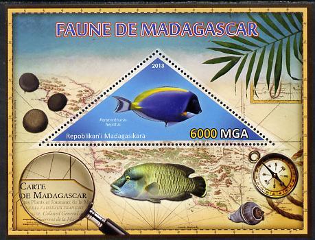 Madagascar 2013 Fauna - Surgeonfish perf sheetlet containing one triangular value unmounted mint