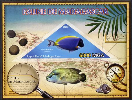 Madagascar 2013 Fauna - Surgeonfish imperf sheetlet containing one triangular value unmounted mint