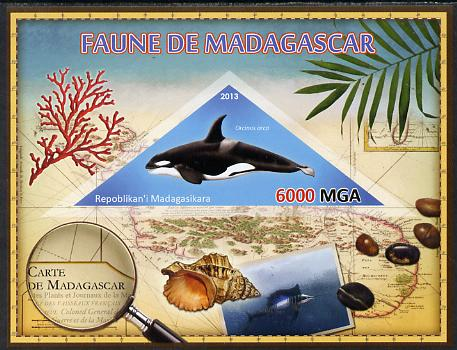 Madagascar 2013 Fauna - Killer Whale imperf sheetlet containing one triangular value unmounted mint