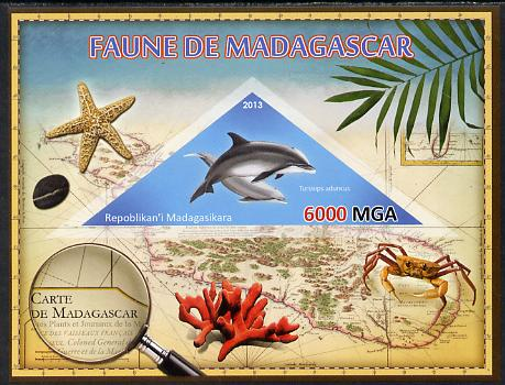 Madagascar 2013 Fauna - Bottlenose Dolphin imperf sheetlet containing one triangular value unmounted mint