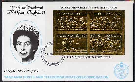 Tanzania 1987 Queen's 60th Birthday imperf souvenir sheet containing the 4 values embossed in 22k gold foil (as SG MS 521) on cover with first day cancel