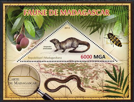 Madagascar 2013 Fauna - Egyptian Mongoose perf sheetlet containing one triangular value unmounted mint