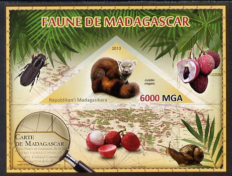 Madagascar 2013 Fauna - Ring-Tailed Mongoose imperf sheetlet containing one triangular value unmounted mint